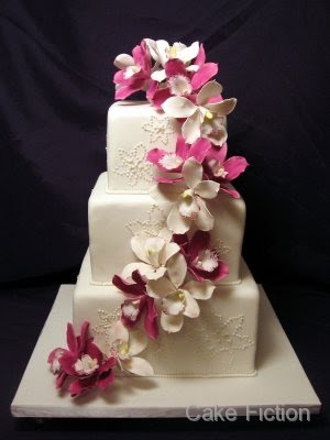 cake fiction magenta orchids wedding cake and st hugh 39 s groom 39 s cake