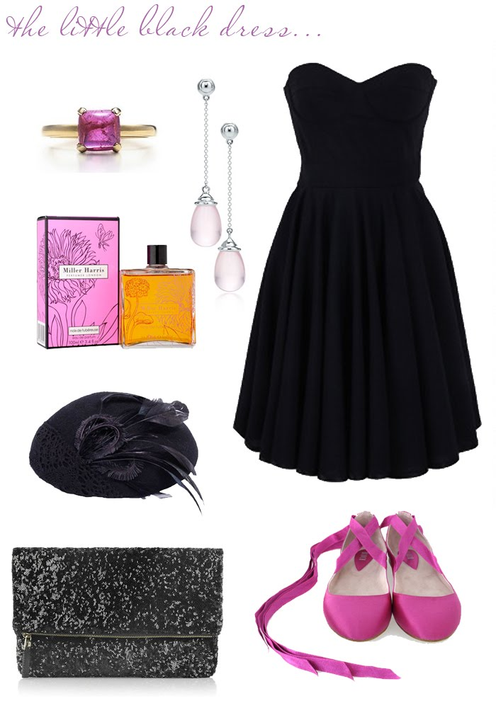 little black dress perfume. { dress // shoes // hat