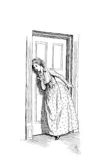 Listening at the door.