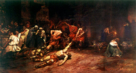 The oil canvas measures 400 x 700 cm, it depicted dead gladiators