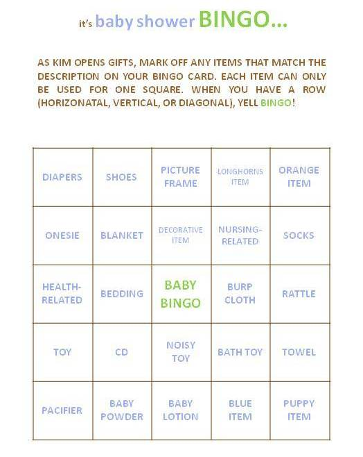 the second game was baby shower bingo