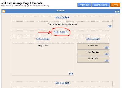 adding add a gadget below header blogger blogspot