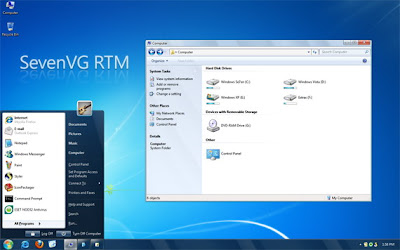 Free Download Windows 7 theme for XP - SevenVG RTM