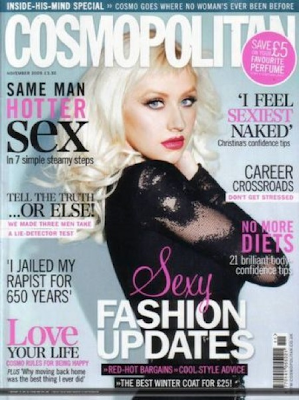 Christina Aguilera en la portada de Cosmopolitan UK Noviembre 2009