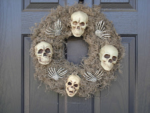finished skull wreath