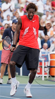 Gael Monfils dancing on court