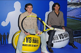 Rafael Nadal and Iker Casillas help battle malaria by using huge racquets and tennis balls