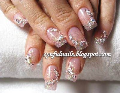 Glitter Acrylic Extension With Crystals Nail Art About SGD130 Additional Gel Top Coat At SGD15