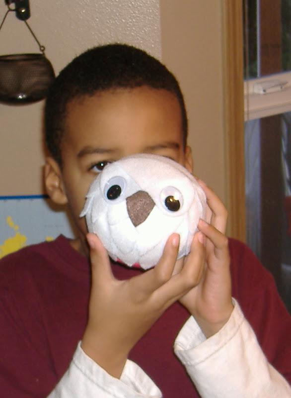 white felt owl