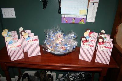 baseball party popcorn favor bags