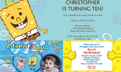 Spongebob Squarepants invite collage