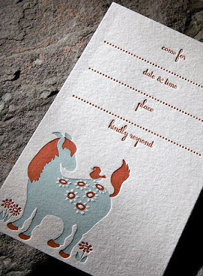 horsey letterpress invite