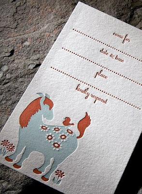 horsey letterpress invite