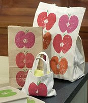 stamped apple bags
