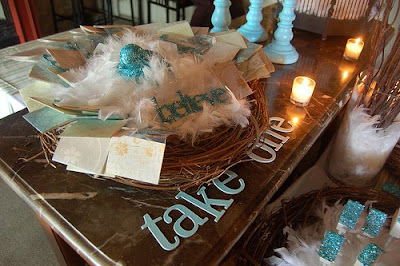 blue bird feather table