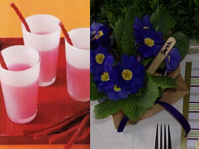 Twizzler stick straws and flower placecard
