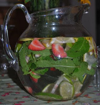fruit infused pitcher of water