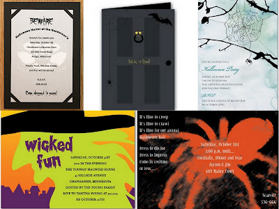 Store-bought Halloween invitation collage