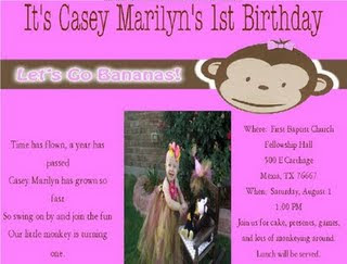 Little monkey party invite