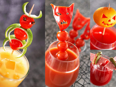 Halloween fruit garnishes