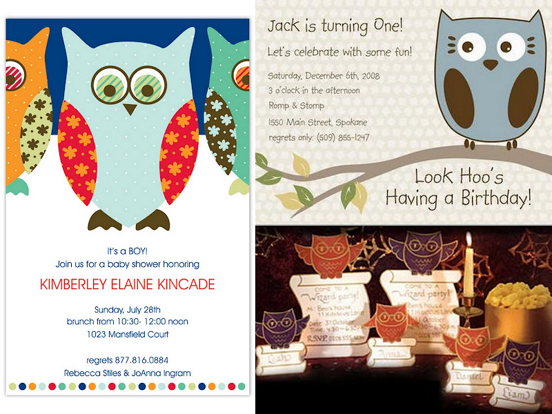 Owl Party Invite Collage
