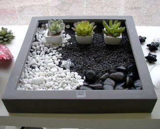 jardines de cactus y suculentas mini jardin zen. Black Bedroom Furniture Sets. Home Design Ideas