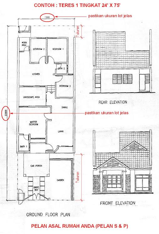 Contoh pelan rumah for Plan arkitek