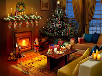 3d Christmas Fireplace Desktop Wallpapers