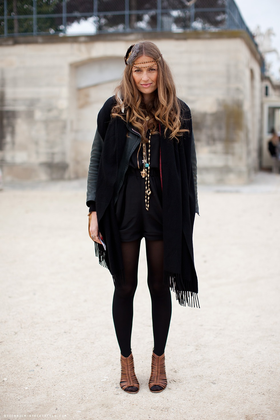 Brittany Fuson Black tights + tan shoes