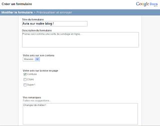 creer des formulaires en ligne avec google docs