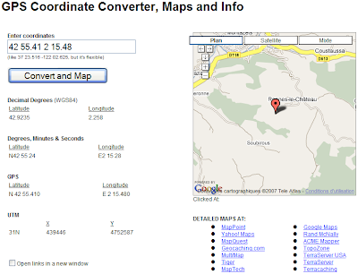 conversion donnees GPS dans une carte Google Maps