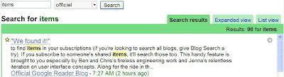 recherche dans google reader