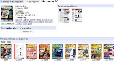Les magazines visibles dans Google Livres