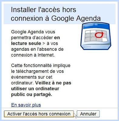 Activer le mode hors-connexion dans Google Agenda