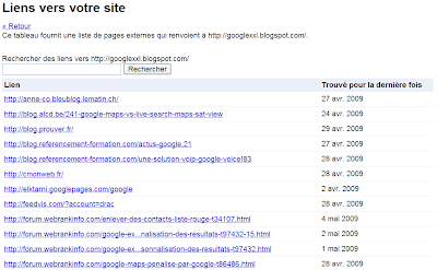 Afficher vos backlinks avec Google Outils pour les Webmasters