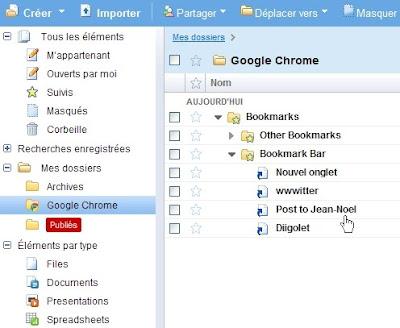 Synchronisation des favoris dans Google Chrome