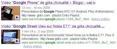 Vignette des vidéos dans les résultats de Google