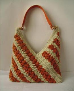 Bolso Tejido A Crochet En Tecnica Lineal Con Hilo Artesanal En 2 Tonos