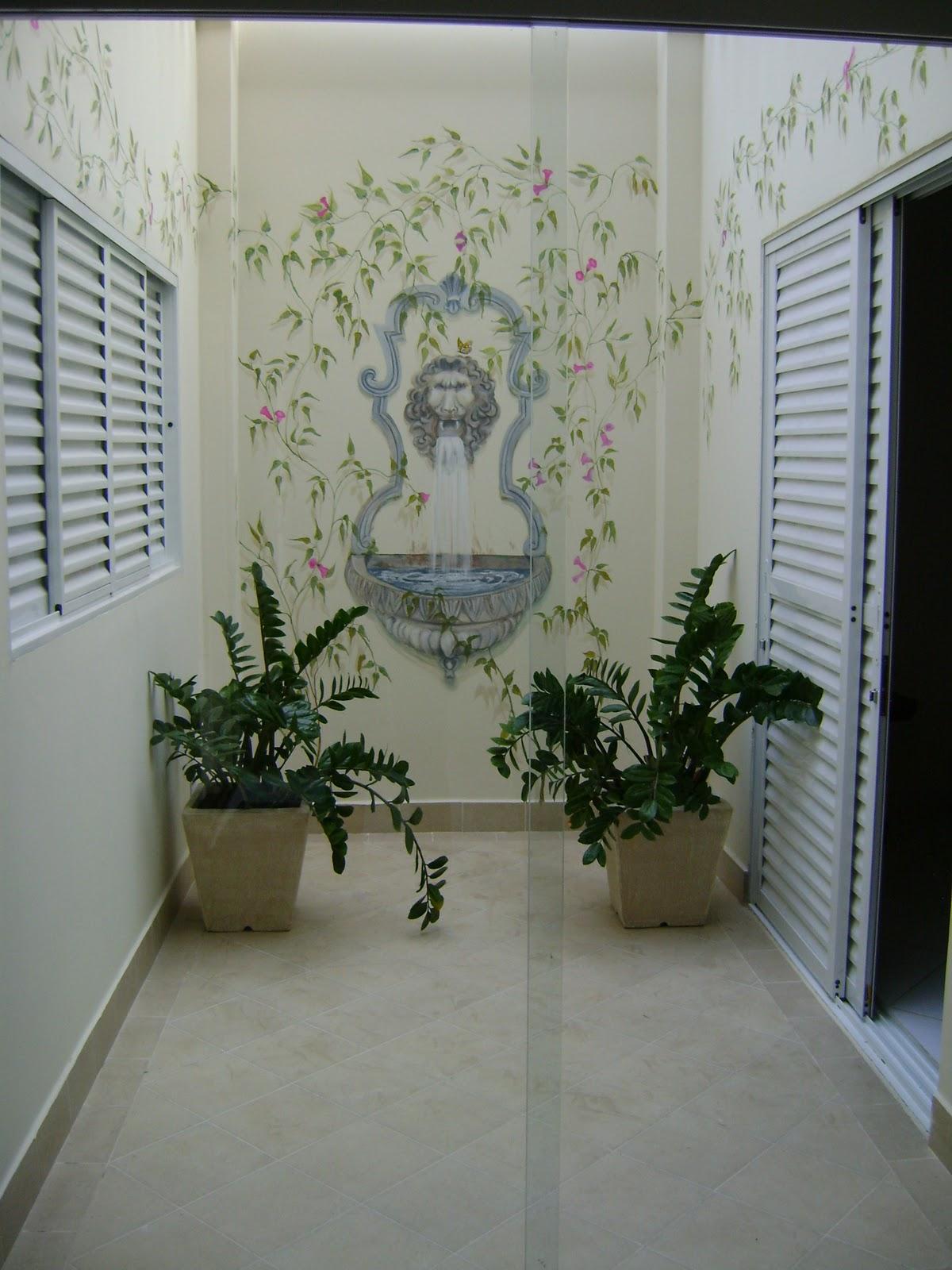 #23281C Capela de Vidro: Fonte no jardim de inverno 224 Janelas De Vidro Para Jardim De Inverno