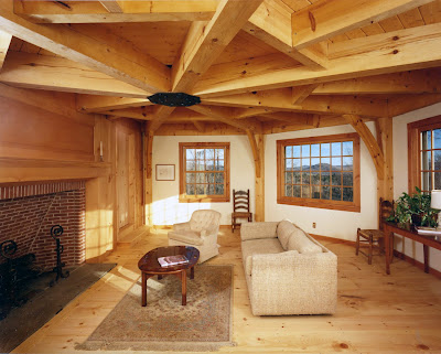 Post and beam construction by vermont timber works inc for Post and beam living room ideas