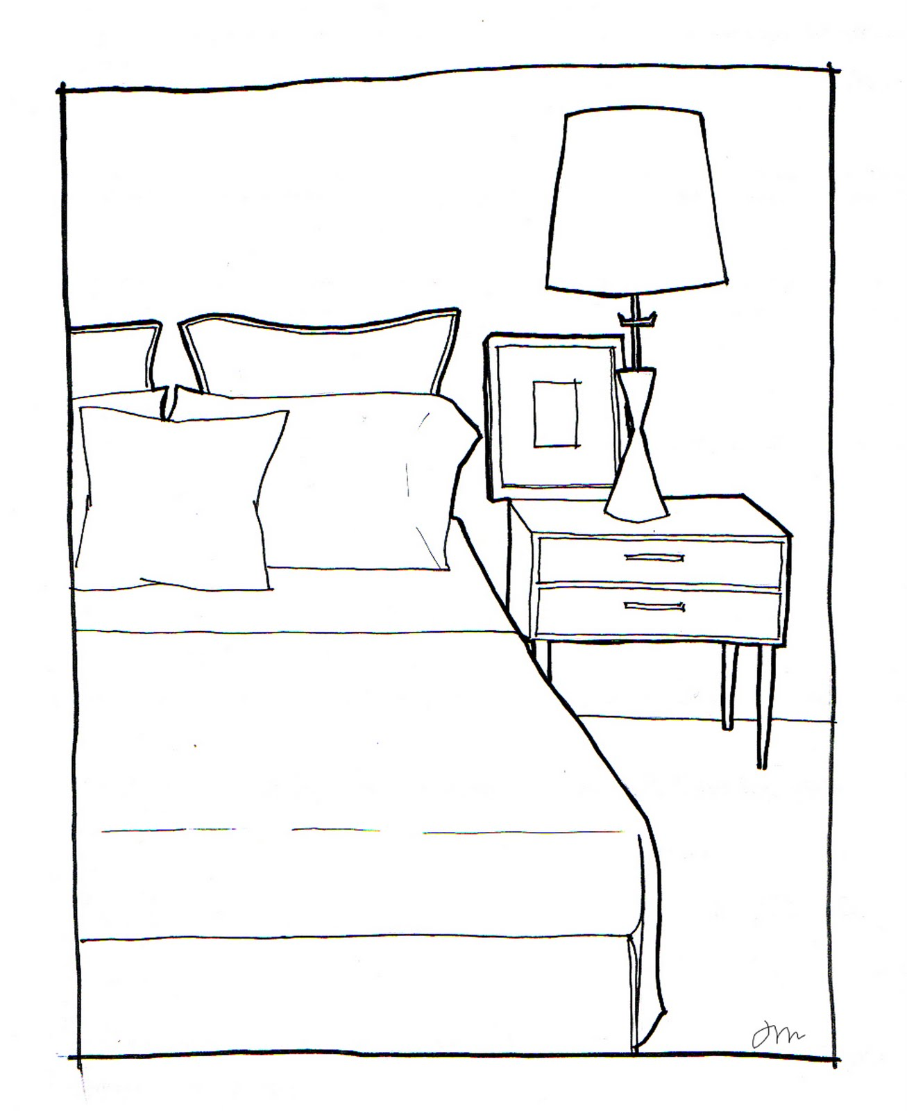 rachel may designs bedroom sketch