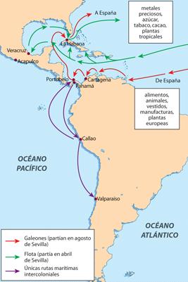 Rutas de comercio en América (creartehistoria)