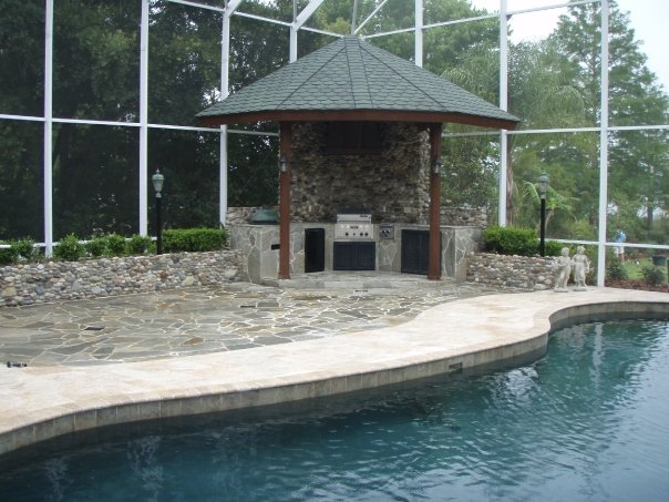 Florida custom pools for Poolside kitchen designs
