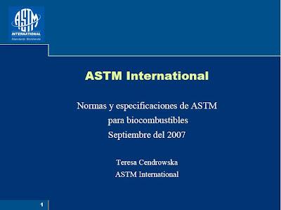 NORMAS Y ESPECIFICACIONES ASTM PARA BIOCOMBUSTIBLES