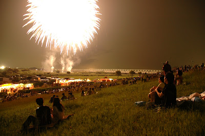 fireworks at night in toride japan