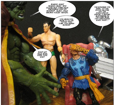 The neck on this Hulk figure is really broken, but it helped here, since I don't think the Doctor's cape unfastens.