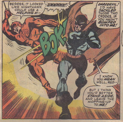 Nighthawk's pretending to be a hero, while running a protection racket for crooks...which may have been a new plot then, but it's iffy.