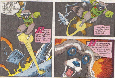 From Rocket Raccoon #1, Mantlo again, Mignola, and Gordon.