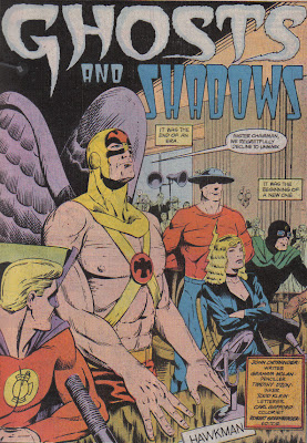 What the hell is Alan looking at there? Either Black Canary's waved hair, or Hawkman's nipple.