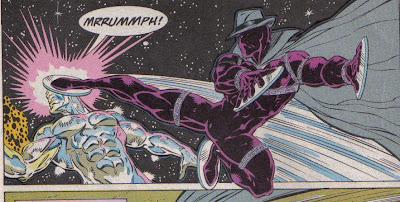 For having no real powers and plates stuck to his hands, Midnight Son makes a pretty good showing against the Surfer.